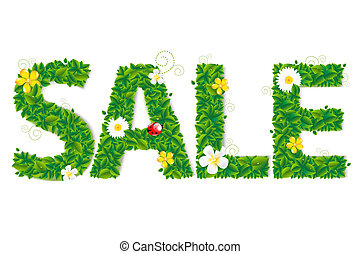 Sale Text With Flowers With Gradient Mesh, Vector...