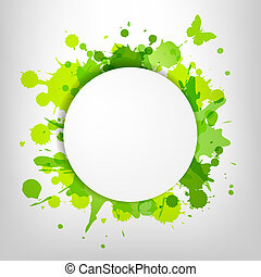 Speech Bubble With Green Blots And Butterfly, Vector...