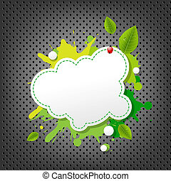 Metal Background With Green Eco Speech Bubble, With Gradient...