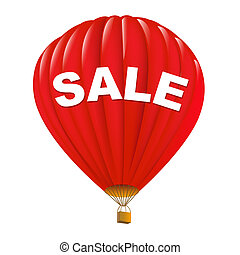 Red Sale Hot Air Balloons, Isolated On White Background,...