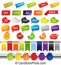 Set Of Sale Stickers And Labels, Isolated On White...
