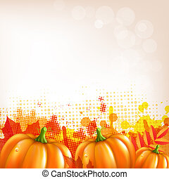Orange Autumn Leafs And Pumkins Border, Vector Illustration