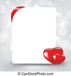 Silver Card With Hearts, Vector Illustration