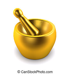 3d Gold pestle and mortar - 3d render of a golden pestle and...