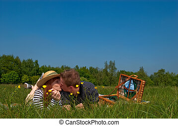 Couple love nature - Young handsome couple, man and woman in...