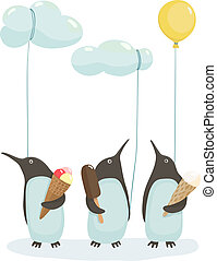 Penguins with Ice Cream - Illustration of penguins birds...