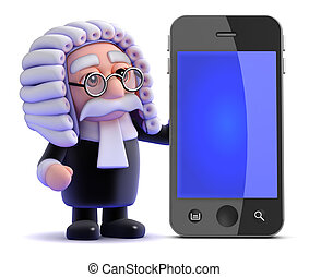 3d Judge and smartphone - 3d render of a judge next to a...