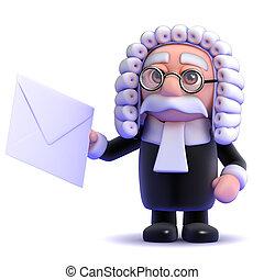 3d Judge lettter - 3d render of a judge holding an envelope