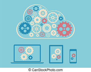 Cloud computing concept design - devices connected to cloud