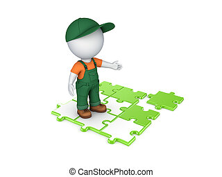 3d small person in workwear and colorful puzzles - 3d small...