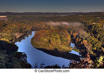 Autumn Scenic Overlook in Branson Missouri at Sunrise -...