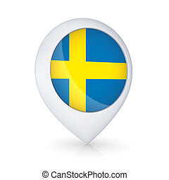 GPS icon with Swedish flag.Isolated on white.3d rendered.