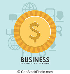 Business design over blue background, vector illustration