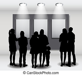 Peoples Silhouettes Looking on the Empty Frame in Art...