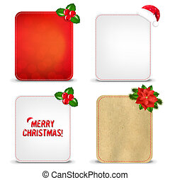 Christmas Banners Set With Holly Berry With Gradient Mesh,...