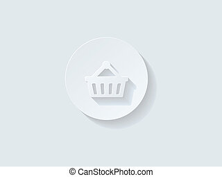 Floating Shopping Cart Icon with Long Shadow