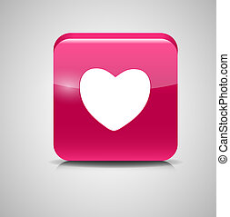 Heart Shaped Glass Button. Vector Illustration