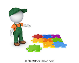 3d small person in workwear and colorful puzzles.. - 3d...