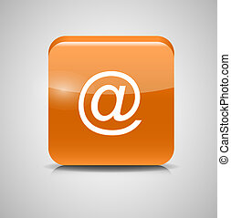 Glass Mail Button Icon. Vector Illustration
