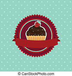 Cupcake - Vintage Cupcake, Isolated On Blue Background,...