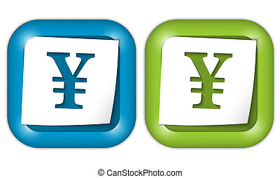 set of two icons with paper and yen sign