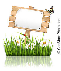 Nature background with grass and sign and a paper. Vector.