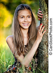 Outdoor portrait of teenage girl - Outdoor portrait of...