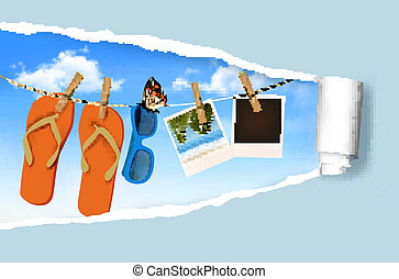 Flip flops, sunglasses and photo cards hanging on a rope. Summer memories background. Vector.