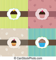 Cake Card Template Set, Vector Illustration