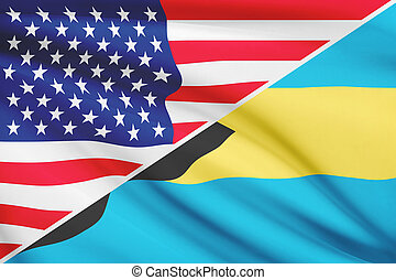 Series of ruffled flags. USA and Bahamas. - Flags of USA and...