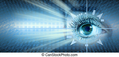 Eye collage - Human eye collage over technology futuristic...