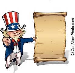 Uncle Sam I Want You Declaration - Vector Cartoon...