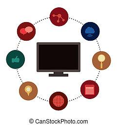 Social network design over white background, vector...