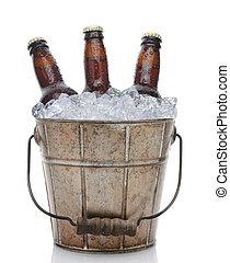 antigas, formado, Cerveja, balde, closeup