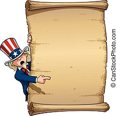 Uncle Sam Pointing at Declaration - Vector Cartoon...