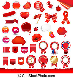 Big Red Labels And Ribbons Set - Big Red Labels, Ribbons And...