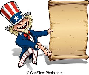 Uncle Sam Presenting Declaration - Vector Cartoon...