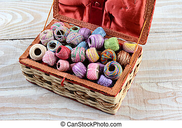 Sewing Box Filled With Thread - High angle shot of a sewing...