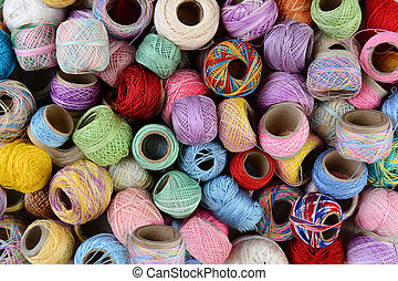 Thread Closeup - Closeup of a variety of small spools of...
