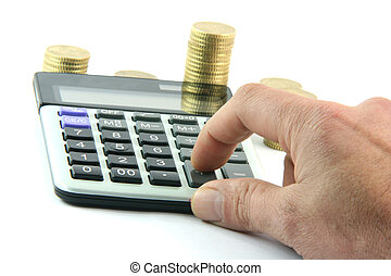 calculating the money isolated on white background business...