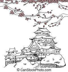 Spring Himeji Castle - Line art illustration of Japanese...