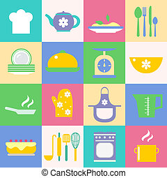 Cuisine and kitchen icons set - Cuisine and kitchen chef hat...