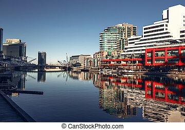 Melbourne, Victoria, Australia - A view of the Yarra River,...