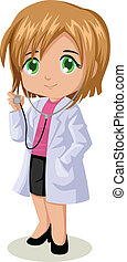 Female Doctor - Cute cartoon illustration of a doctor