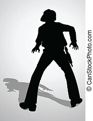 Duel - Silhouette illustration of a cowboy ready to draw a...