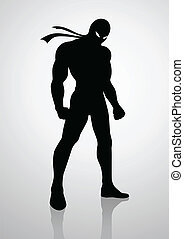 Superhero - Silhouette illustration of a superhero in a mask