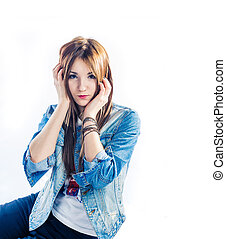 Surprized blonde on white background