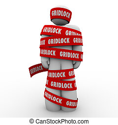 Gridlock red tape wraped around a man or person who is...