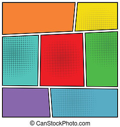Comics popart blank layout template - Comics pop art style...