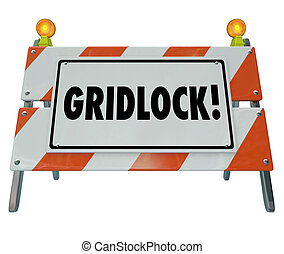 Gridlock Road Barrier Barricade Warning Traffic Sign -...